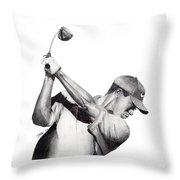 Tiger Backswing Throw Pillow by Devin Millington