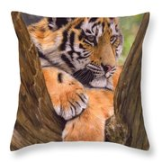 Tiger Cub Painting Throw Pillow by David Stribbling