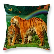 Tiger Love Tropical Throw Pillow by Alixandra Mullins