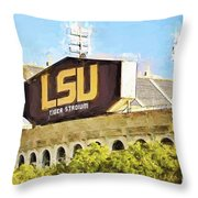 Tiger Stadium Throw Pillow by Scott Pellegrin
