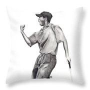 Tiger Woods Iconic Throw Pillow by Devin Millington