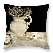 Time For Tea Throw Pillow by Camille Lopez
