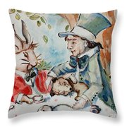 Time The Mad Tea Party 2 Throw Pillow by Carrie Joy Byrnes