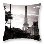 Timeless Eiffel Tower Throw Pillow by Olivier Le Queinec