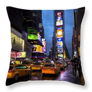 Times Square In The Rain Throw Pillow by Garry Gay