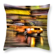 Times Square Taxi I Throw Pillow by Clarence Holmes