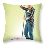 Tired Charwoman Throw Pillow by Carlos Caetano