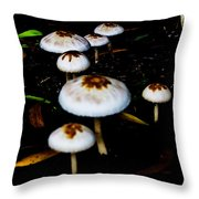 Toadstools V4 Throw Pillow by Douglas Barnard