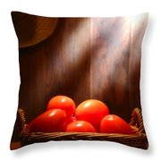 Tomatoes At An Old Farm Stand Throw Pillow by Olivier Le Queinec
