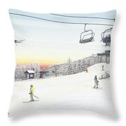 Top Of The Mountain At Seven Springs Throw Pillow by Albert Puskaric