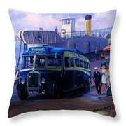 Torpoint Ferry. Throw Pillow by Mike  Jeffries