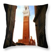 Torre Del Mangia Siena Throw Pillow by Mike Nellums