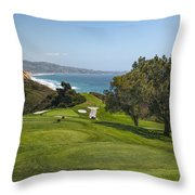 Torrey Pines Golf Course North 6th Hole Throw Pillow by Adam Romanowicz