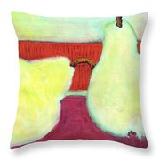 Touching Pears Art Painting Throw Pillow by Blenda Studio