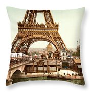 Tour Eiffel And Exposition Universelle Paris Throw Pillow by Georgia Fowler