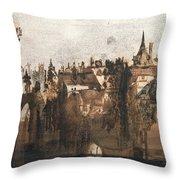 Town with a Broken Bridge Throw Pillow by Victor Hugo