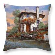 Tramonto Con Bougainvillea Throw Pillow by Guido Borelli