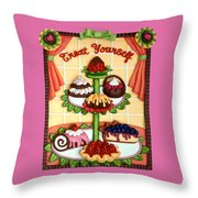 Treat Yourself Throw Pillow by Amy Vangsgard