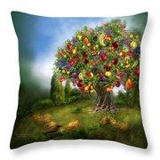 Tree Of Abundance Throw Pillow by Carol Cavalaris