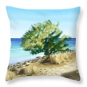Tree On The Beach Throw Pillow by Veronica Minozzi