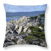 Trees Amidst The Cliffs In California's Point Lobos State Natural Reserve Throw Pillow by Bruce Gourley