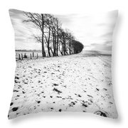 Trees In Snow Scotland II Throw Pillow by John Farnan