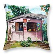 Trini Roti Shop Throw Pillow by Karin  Dawn Kelshall- Best