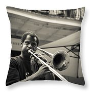Trombone In New Orleans Throw Pillow by David Morefield