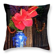 Tropical Flowers In A Porcelain Vase Throw Pillow by Karon Melillo DeVega