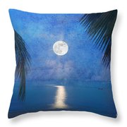 Tropical Moonglow Throw Pillow by Betty LaRue