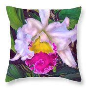 Tropical Orchid Throw Pillow by Jane Schnetlage