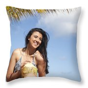 Tropical Vacationer Throw Pillow by Brandon Tabiolo