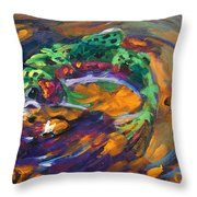 Trout And Fly Throw Pillow by Savlen Art