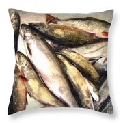 Trout Digital Painting Throw Pillow by Barbara Griffin