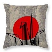 Tsuru Throw Pillow by Cheryl Young