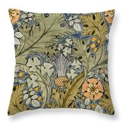 Tudor roses thistles and shamrock Throw Pillow by Voysey