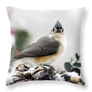 Tufted Titmouse In The Snow Throw Pillow by Christina Rollo