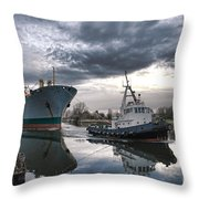 Tugboat Pulling A Cargo Ship Throw Pillow by Olivier Le Queinec