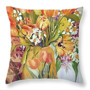 Tulips And Narcissi In An Art Nouveau Vase Throw Pillow by Joan Thewsey