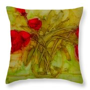 Tulips In A Glass Vase Throw Pillow by Patricia Awapara