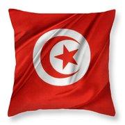Tunisia Flag Throw Pillow by Les Cunliffe