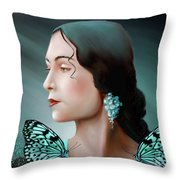 Turquoise  Poetry Throw Pillow by Susi Galloway
