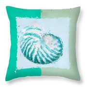 Turquoise Seashells XII Throw Pillow by Lourry Legarde
