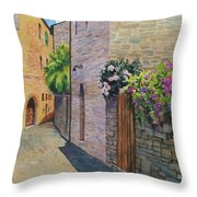 Tuscan Alley Throw Pillow by Marguerite Chadwick-Juner