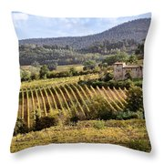Tuscan Valley Throw Pillow by Dave Bowman