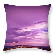 Tuscania Village With Approaching Storm  Italy Throw Pillow by Silvia Ganora