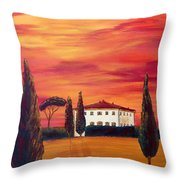 Tuscany In Red Throw Pillow by Christine Huwer