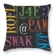 Tween Textspeak 1 Throw Pillow by Debbie DeWitt