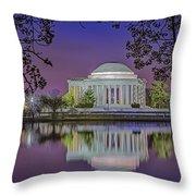 Twilight At The Thomas Jefferson Memorial  Throw Pillow by Susan Candelario