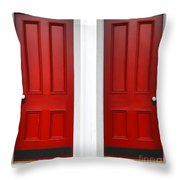 Twin Red Doors Throw Pillow by Olivier Le Queinec